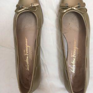 Ferragamo Gold Tassel Ballet Flats size 6AA